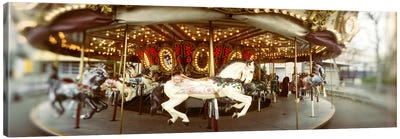Carousel horses in an amusement park, Seattle Center, Queen Anne Hill, Seattle, Washington State, USA Canvas Art Print