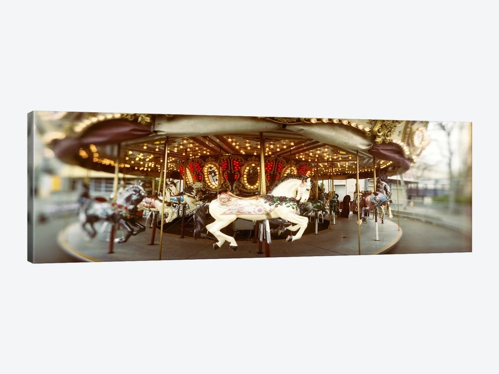 Carousel horses in an amusement park, Seattle Center, Queen Anne Hill, Seattle, Washington State, USA by Panoramic Images 1-piece Canvas Wall Art