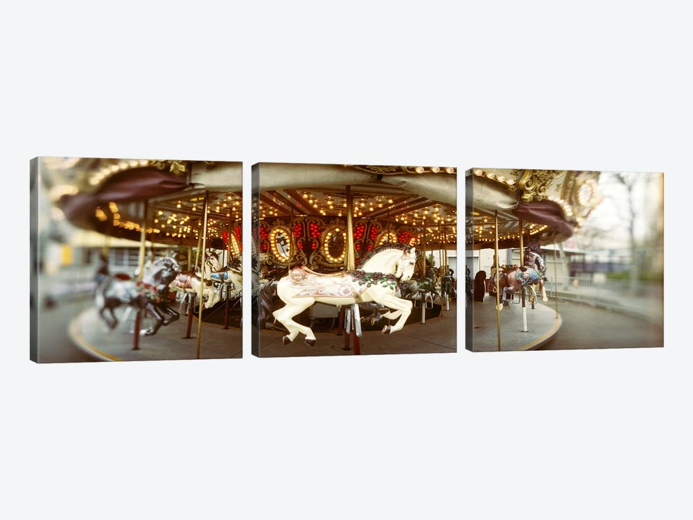 Carousel horses in an amusement park, Seattle Center, Queen Anne Hill, Seattle, Washington State, USA by Panoramic Images 3-piece Canvas Art