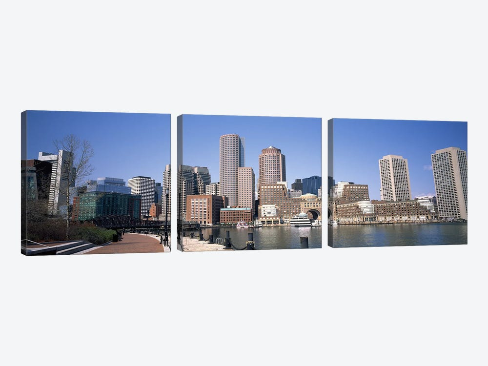 Buildings in a city, Boston, Suffolk County, Massachusetts, USA by Panoramic Images 3-piece Canvas Wall Art