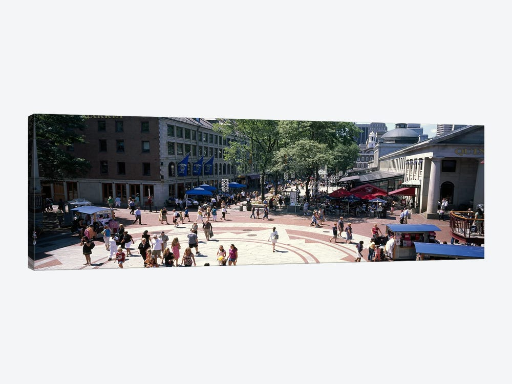 Tourists in a market, Faneuil Hall Marketplace, Quincy Market, Boston, Suffolk County, Massachusetts, USA by Panoramic Images 1-piece Canvas Print
