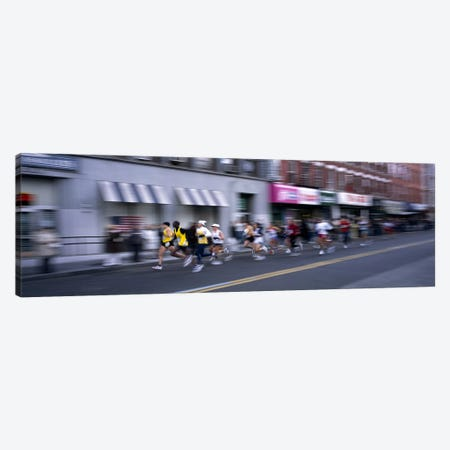 People running in New York City Marathon, Manhattan Avenue, Greenpoint, Brooklyn, New York City, New York State, USA Canvas Print #PIM7894} by Panoramic Images Canvas Print