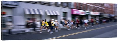 People running in New York City Marathon, Manhattan Avenue, Greenpoint, Brooklyn, New York City, New York State, USA Canvas Art Print