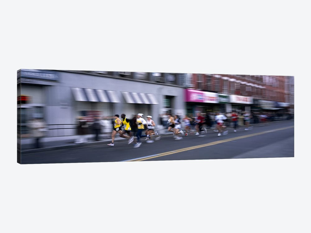 People running in New York City Marathon, Manhattan Avenue, Greenpoint, Brooklyn, New York City, New York State, USA by Panoramic Images 1-piece Canvas Artwork