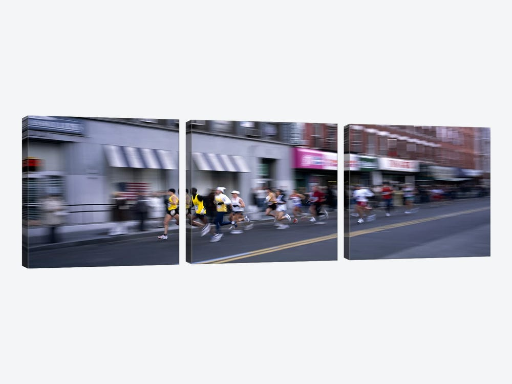 People running in New York City Marathon, Manhattan Avenue, Greenpoint, Brooklyn, New York City, New York State, USA by Panoramic Images 3-piece Canvas Art