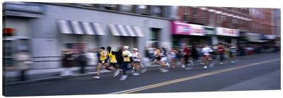 People running in New York City Marathon, Manhattan Avenue, Greenpoint, Brooklyn, New York City, New York State, USA Canvas Art Print