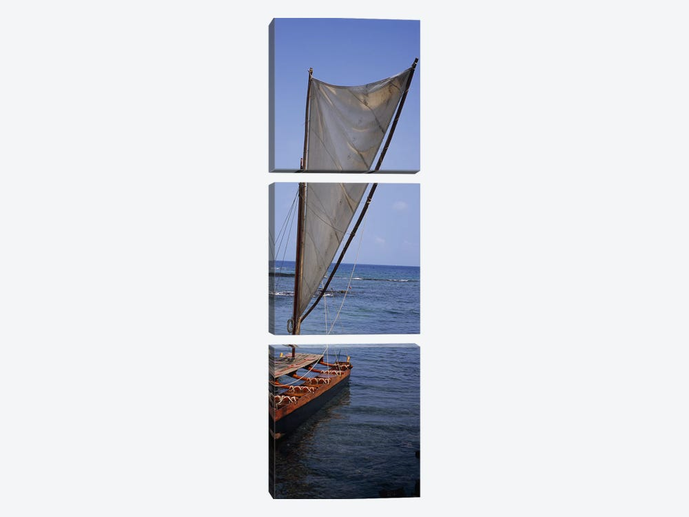 Canoe in the sea, Honolulu, Pu'uhonua o Honaunau National Historical Park, Honaunau, Hawaii, USA by Panoramic Images 3-piece Canvas Art Print