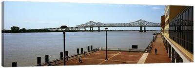Bridge across a river, Crescent City Connection Bridge, Mississippi River, New Orleans, Louisiana, USA Canvas Print #PIM7898