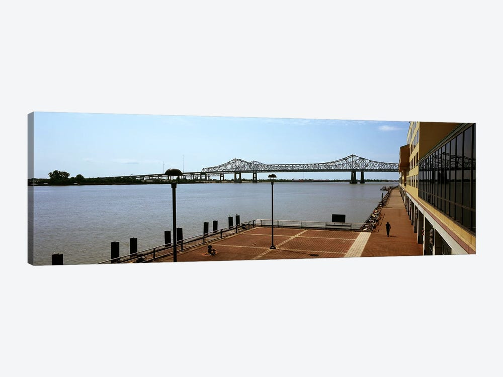 Bridge across a river, Crescent City Connection Bridge, Mississippi River, New Orleans, Louisiana, USA by Panoramic Images 1-piece Canvas Wall Art