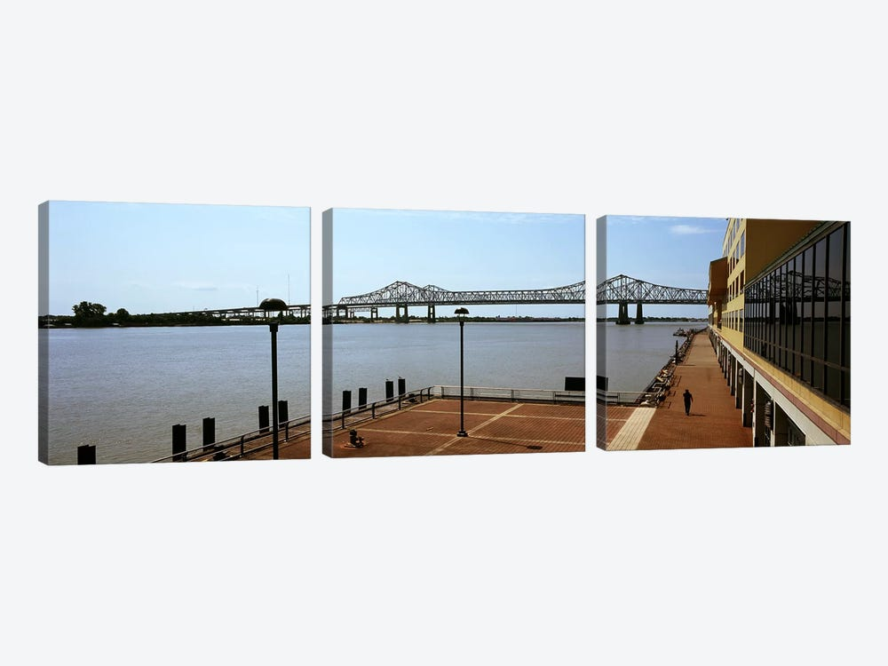 Bridge across a river, Crescent City Connection Bridge, Mississippi River, New Orleans, Louisiana, USA by Panoramic Images 3-piece Canvas Artwork