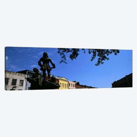 Statues in front of buildings, French Market, French Quarter, New Orleans, Louisiana, USA Canvas Print #PIM7899} by Panoramic Images Canvas Artwork