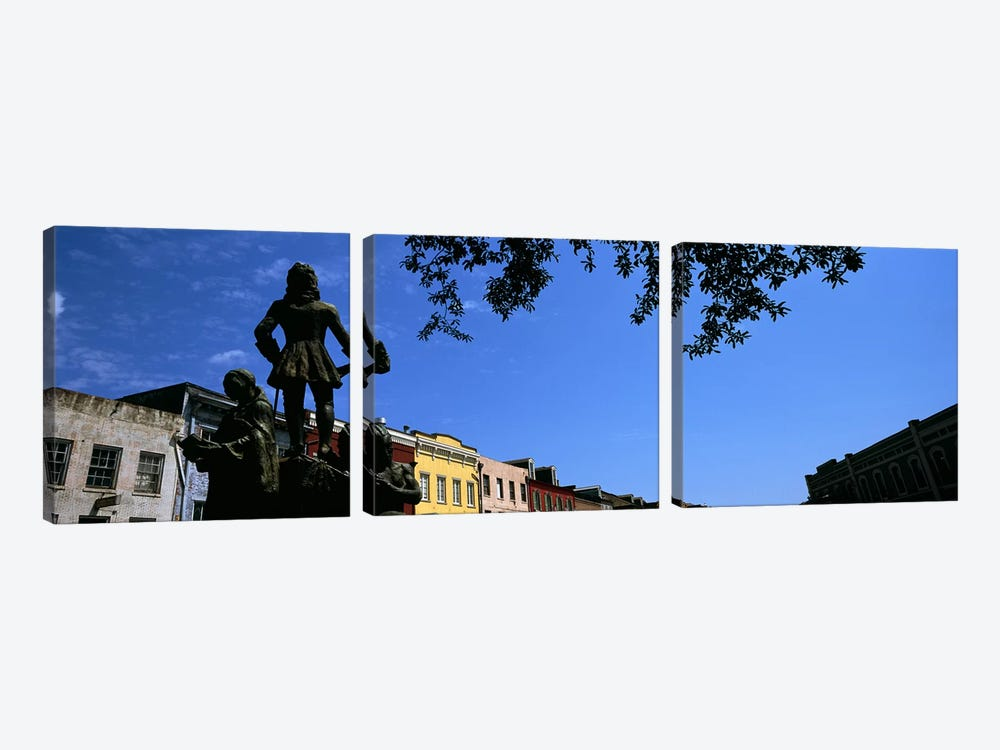 Statues in front of buildings, French Market, French Quarter, New Orleans, Louisiana, USA by Panoramic Images 3-piece Art Print