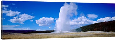 A Cloudy Day's Eruption, Old Faithful, Upper Geyser Basin, Yellowstone National Park, Wyoming, USA Canvas Art Print