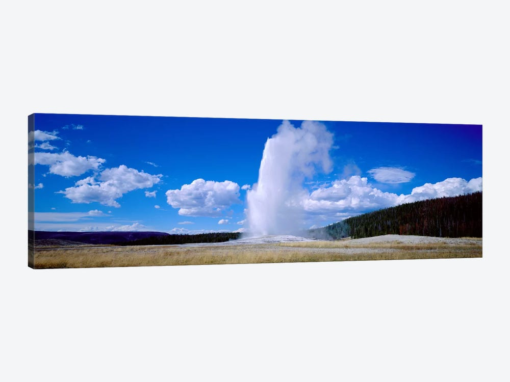 A Cloudy Day's Eruption, Old Faithful, Upper Geyser Basin, Yellowstone National Park, Wyoming, USA by Panoramic Images 1-piece Canvas Art Print