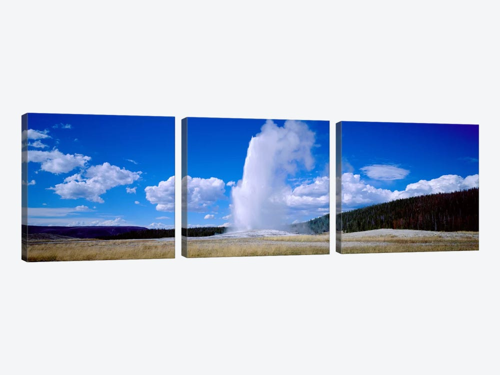 A Cloudy Day's Eruption, Old Faithful, Upper Geyser Basin, Yellowstone National Park, Wyoming, USA by Panoramic Images 3-piece Canvas Art Print