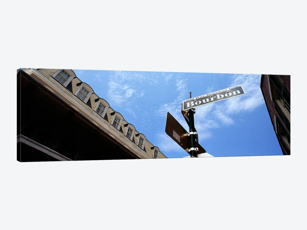 Street name signboard on a pole, Bourbon Street, French Market, French Quarter, New Orleans, Louisiana, USA by Panoramic Images 1-piece Art Print