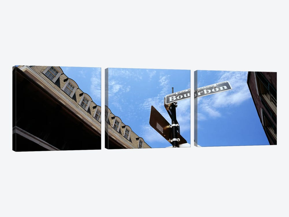 Street name signboard on a pole, Bourbon Street, French Market, French Quarter, New Orleans, Louisiana, USA by Panoramic Images 3-piece Canvas Print