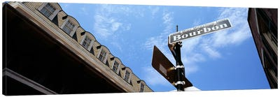 Street name signboard on a pole, Bourbon Street, French Market, French Quarter, New Orleans, Louisiana, USA Canvas Art Print