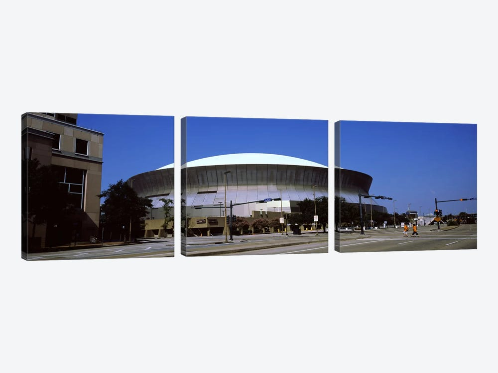 Low angle view of a stadium, Louisiana Superdome, New Orleans, Louisiana, USA by Panoramic Images 3-piece Canvas Art Print