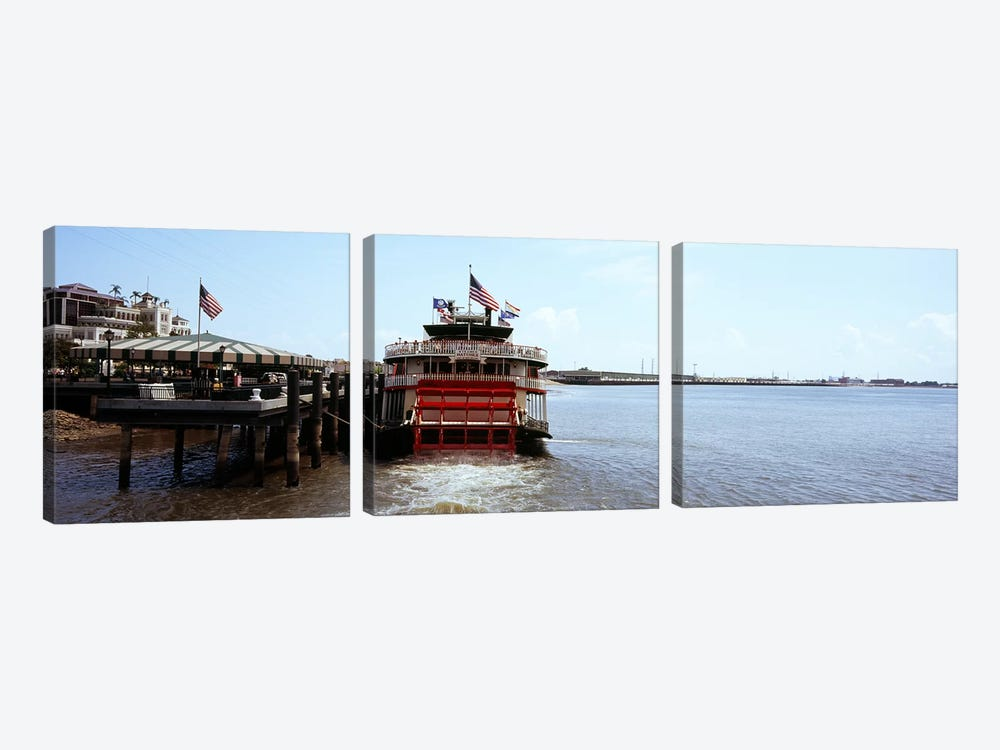 Paddleboat Natchez in a river, Mississippi River, New Orleans, Louisiana, USA by Panoramic Images 3-piece Canvas Art