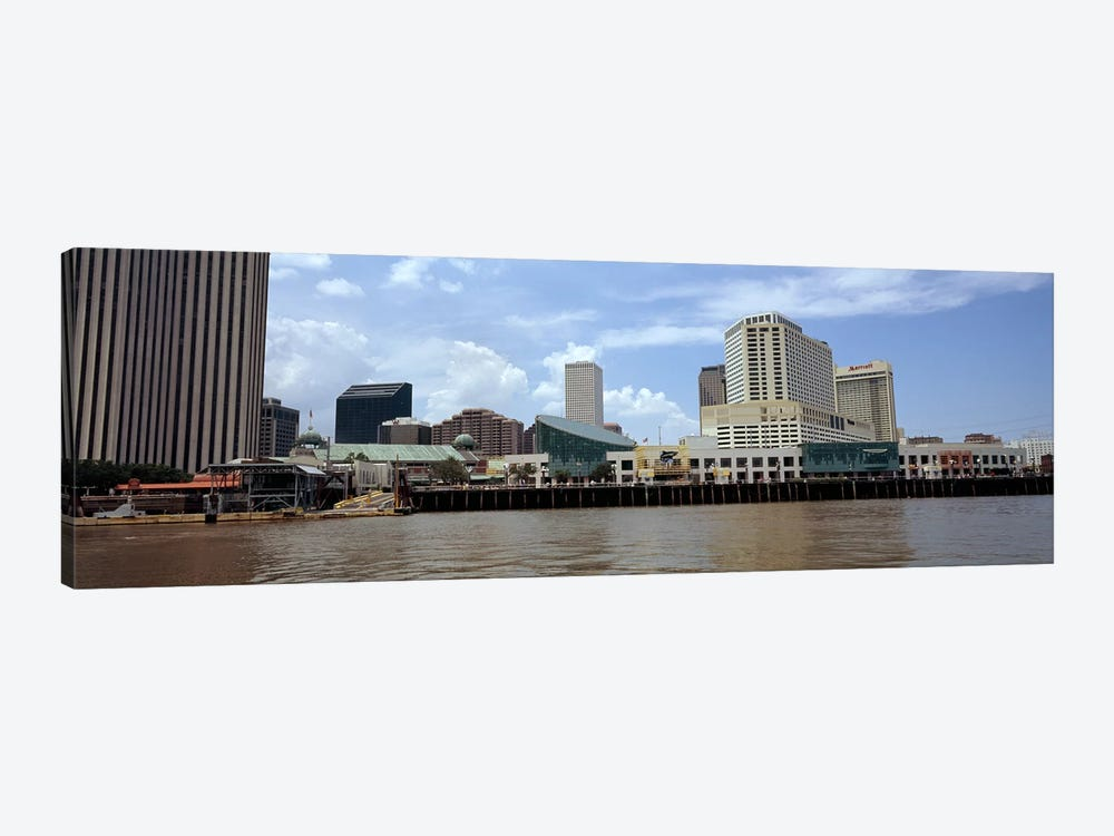 Buildings viewed from the deck of a ferry, New Orleans, Louisiana, USA by Panoramic Images 1-piece Canvas Print
