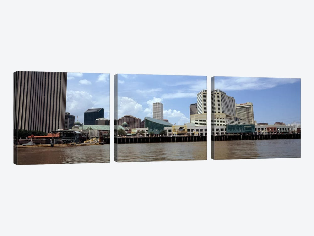 Buildings viewed from the deck of a ferry, New Orleans, Louisiana, USA by Panoramic Images 3-piece Canvas Print