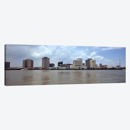 Buildings viewed from the deck of Algiers ferry, New Orleans, Louisiana, USA Canvas Print #PIM7906} by Panoramic Images Art Print