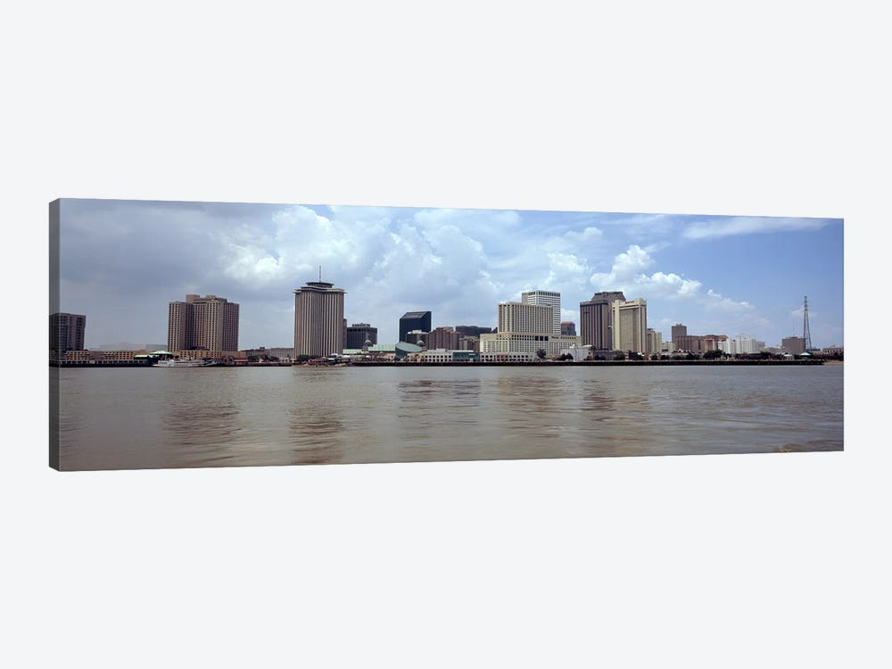 Buildings viewed from the deck of Algiers ferry, New Orleans, Louisiana, USA by Panoramic Images 1-piece Canvas Art