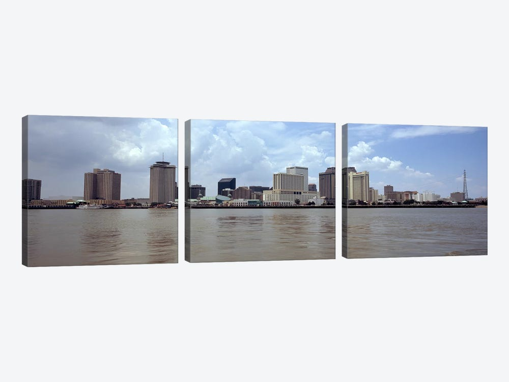 Buildings viewed from the deck of Algiers ferry, New Orleans, Louisiana, USA by Panoramic Images 3-piece Canvas Art