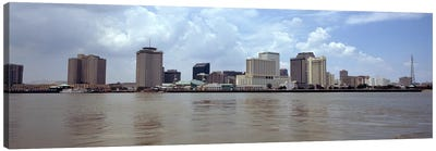 Buildings viewed from the deck of Algiers ferry, New Orleans, Louisiana, USA Canvas Art Print