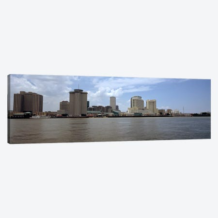 Buildings viewed from the deck of Algiers ferry, New Orleans, Louisiana, USA #2 Canvas Print #PIM7907} by Panoramic Images Canvas Art Print