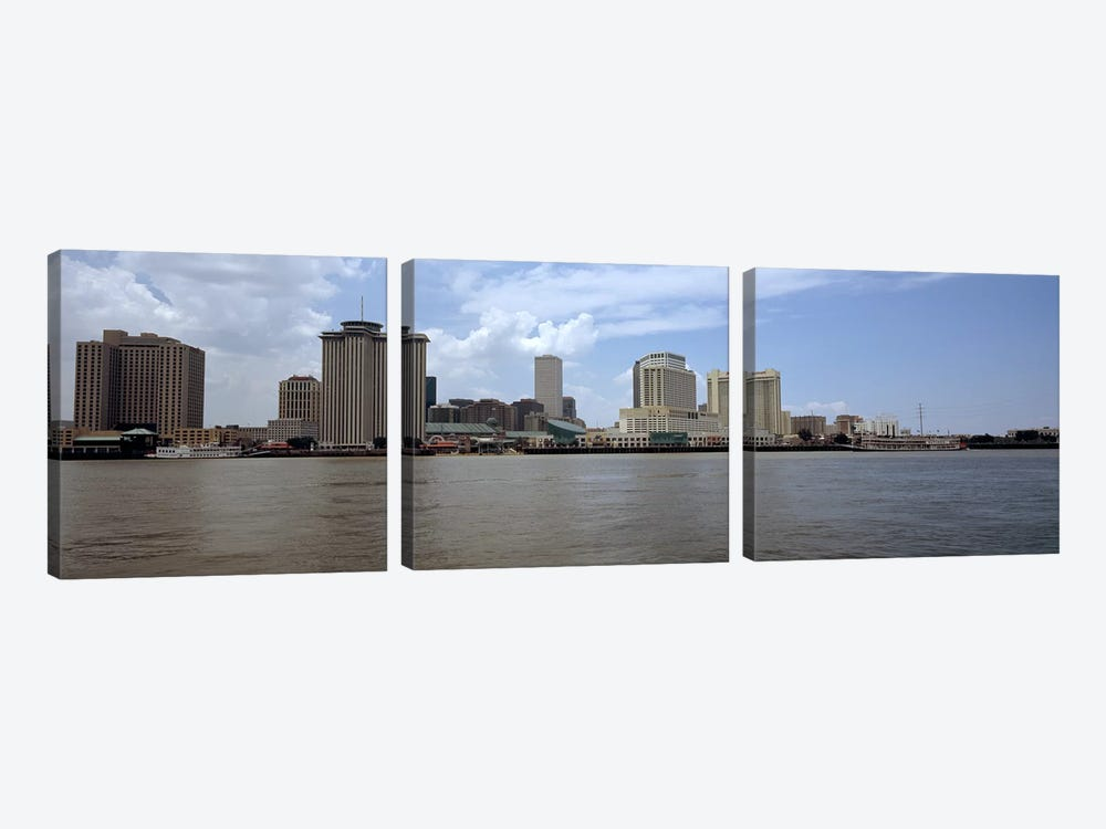 Buildings viewed from the deck of Algiers ferry, New Orleans, Louisiana, USA #2 by Panoramic Images 3-piece Art Print