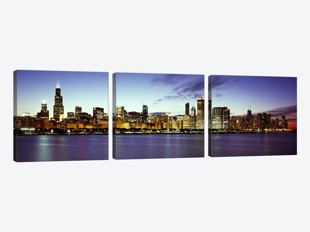 Buildings at the waterfront, Lake Michigan, Chicago, Cook County, Illinois, USA by Panoramic Images 3-piece Canvas Artwork