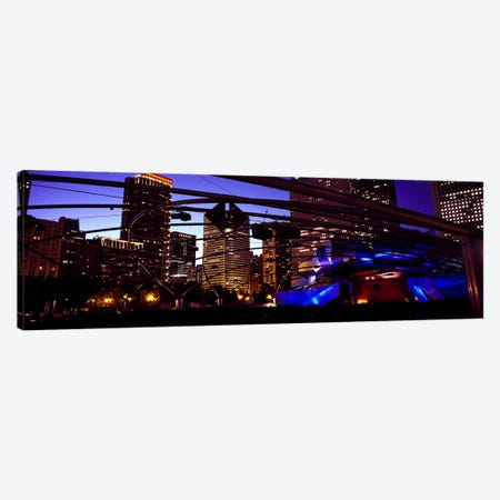 Buildings lit up at night, Millennium Park, Chicago, Cook County, Illinois, USA Canvas Print #PIM7909} by Panoramic Images Canvas Artwork