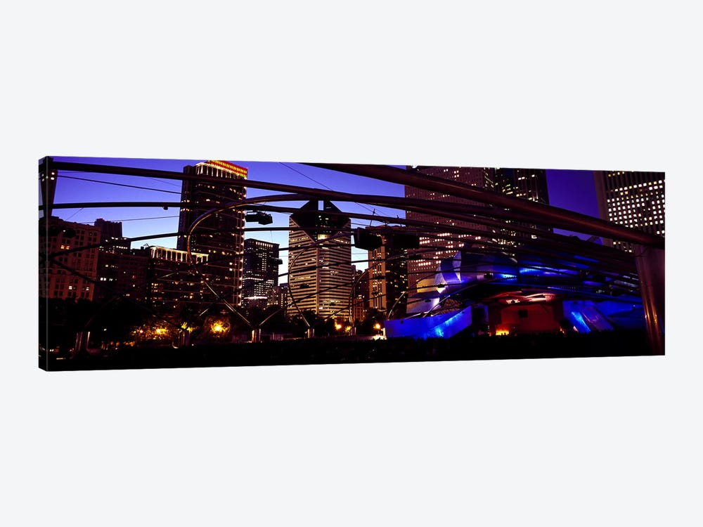 Buildings lit up at night, Millennium Park, Chicago, Cook County, Illinois, USA 1-piece Canvas Print