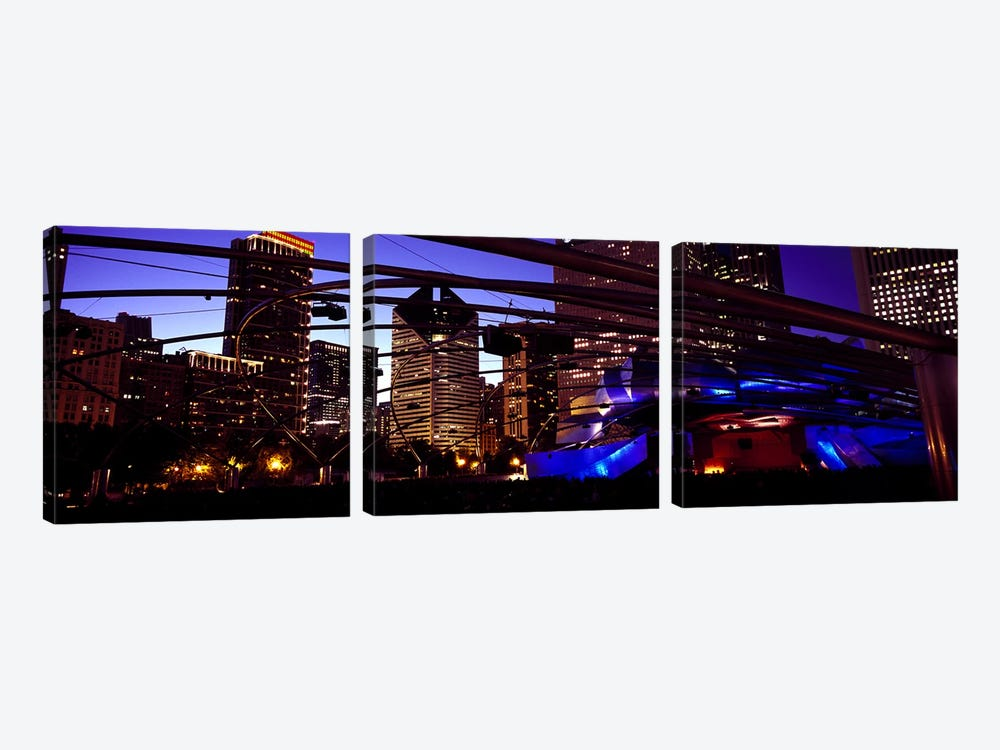 Buildings lit up at night, Millennium Park, Chicago, Cook County, Illinois, USA by Panoramic Images 3-piece Art Print