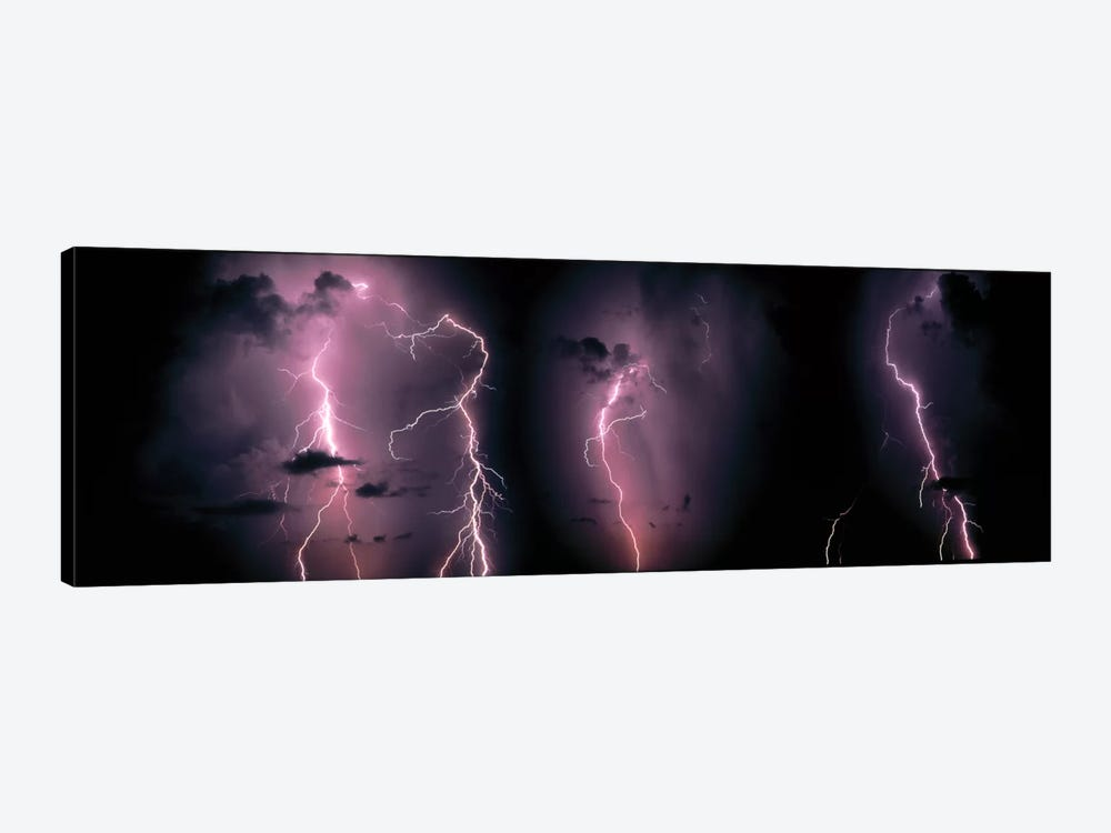 Lightning Bolts In A Purple Thunderstorm by Panoramic Images 1-piece Canvas Wall Art