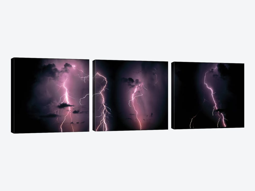 Lightning Bolts In A Purple Thunderstorm 3-piece Canvas Artwork