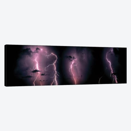Lightning Bolts In A Purple Thunderstorm Canvas Print #PIM790} by Panoramic Images Canvas Wall Art