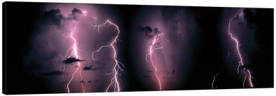 Lightning Bolts In A Purple Thunderstorm Canvas Art Print