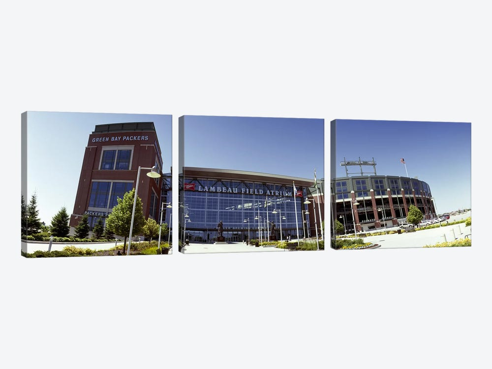 Facade of a stadium, Lambeau Field, Green Bay, Wisconsin, USA 3-piece Canvas Art Print