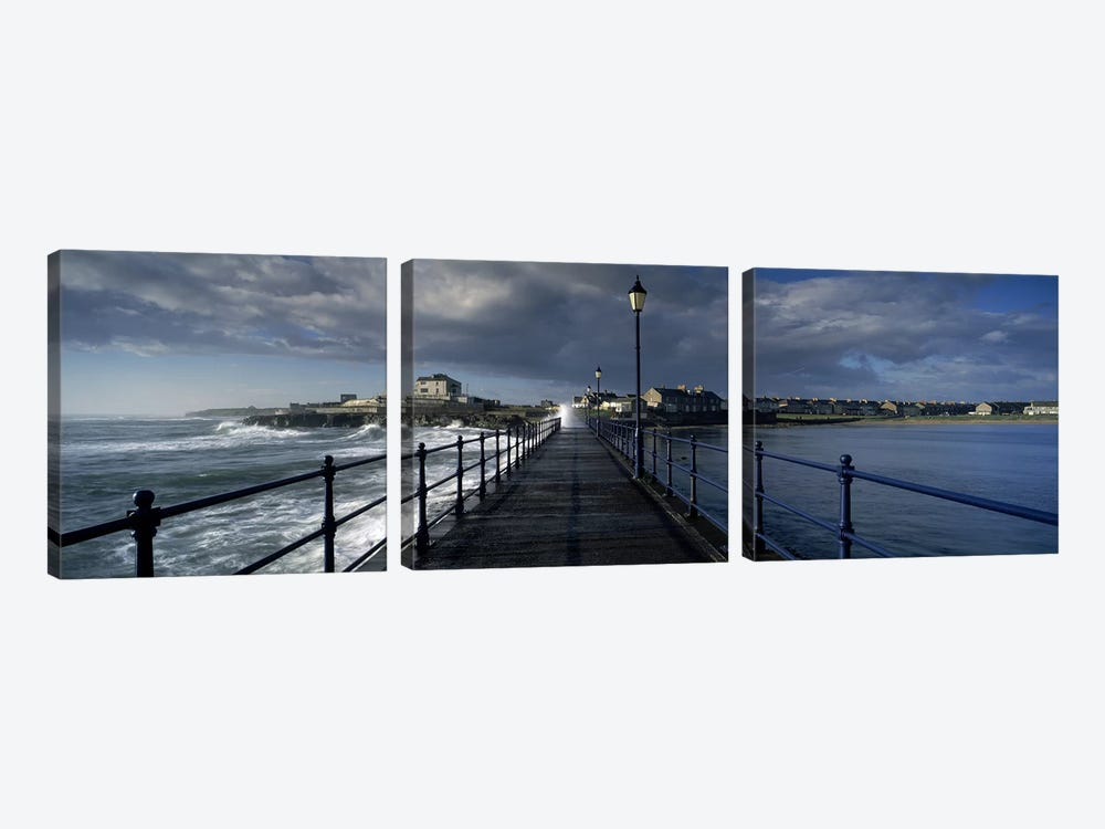 Crashing Waves On A Cloudy Day, Amble, Northumberland, England 3-piece Canvas Wall Art
