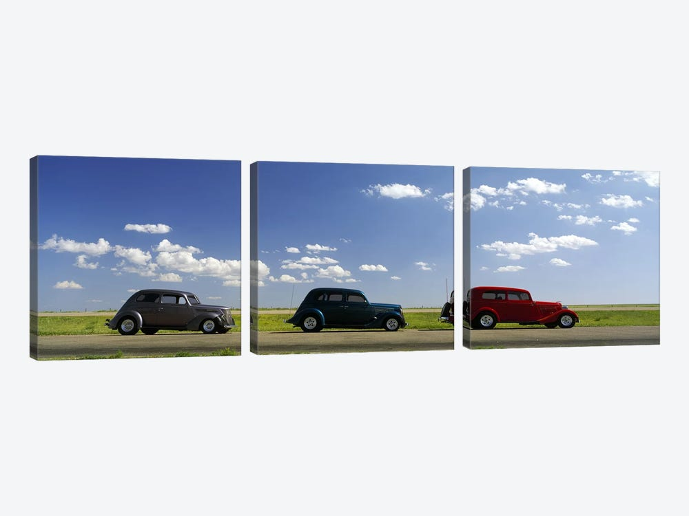 Three Hot Rods, U.S. Route 66, USA by Panoramic Images 3-piece Canvas Art