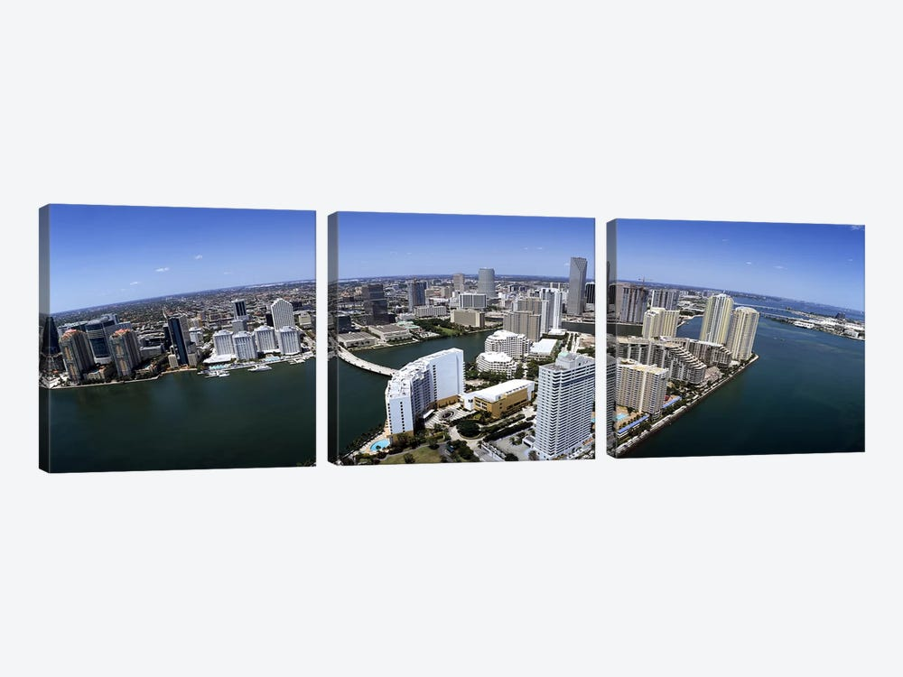 Aerial view of a city, Miami, Miami-Dade County, Florida, USA 2008 by Panoramic Images 3-piece Canvas Art Print