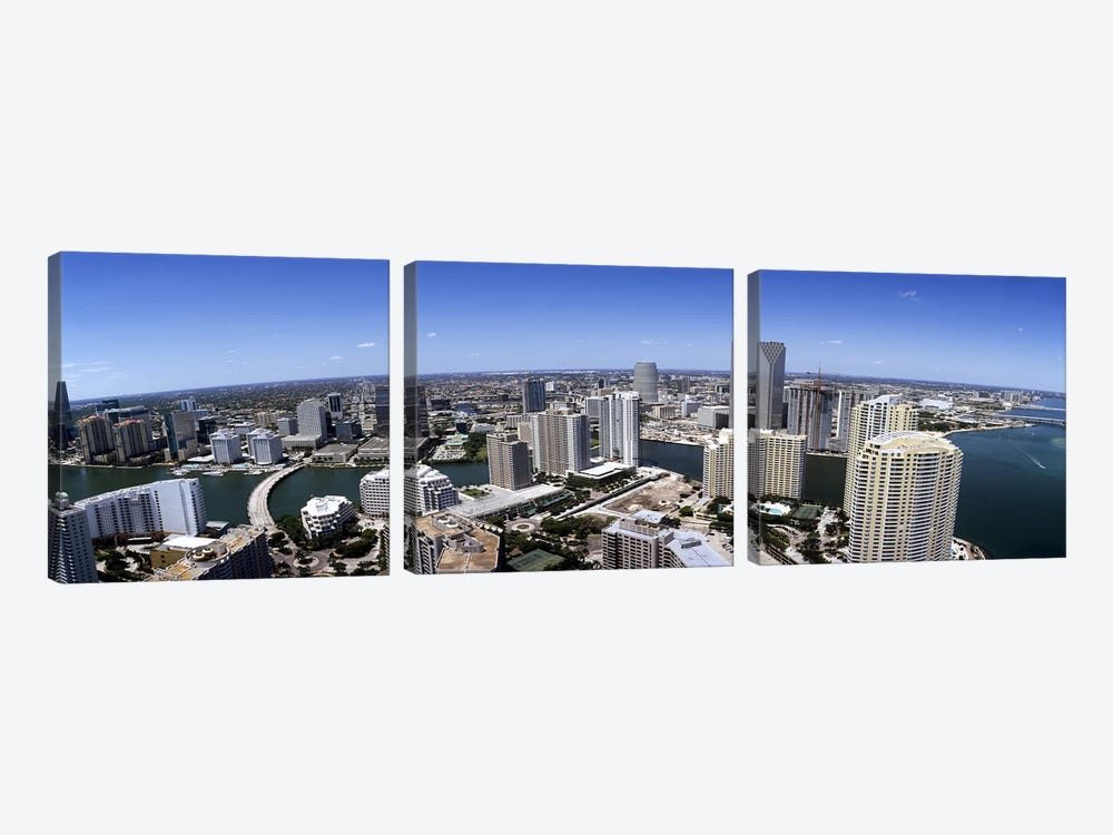 Aerial view of a city, Miami, Miami-Dade County, Florida, USA 2008 #2 by Panoramic Images 3-piece Canvas Art