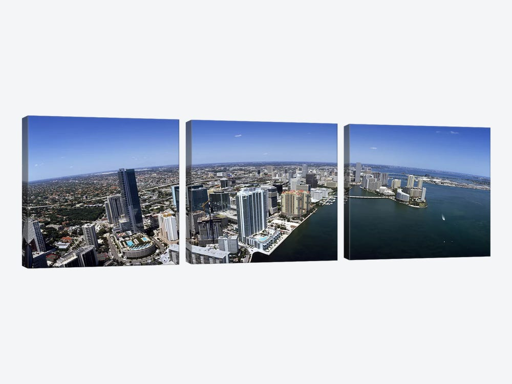 Aerial view of a cityMiami, Miami-Dade County, Florida, USA by Panoramic Images 3-piece Canvas Art Print