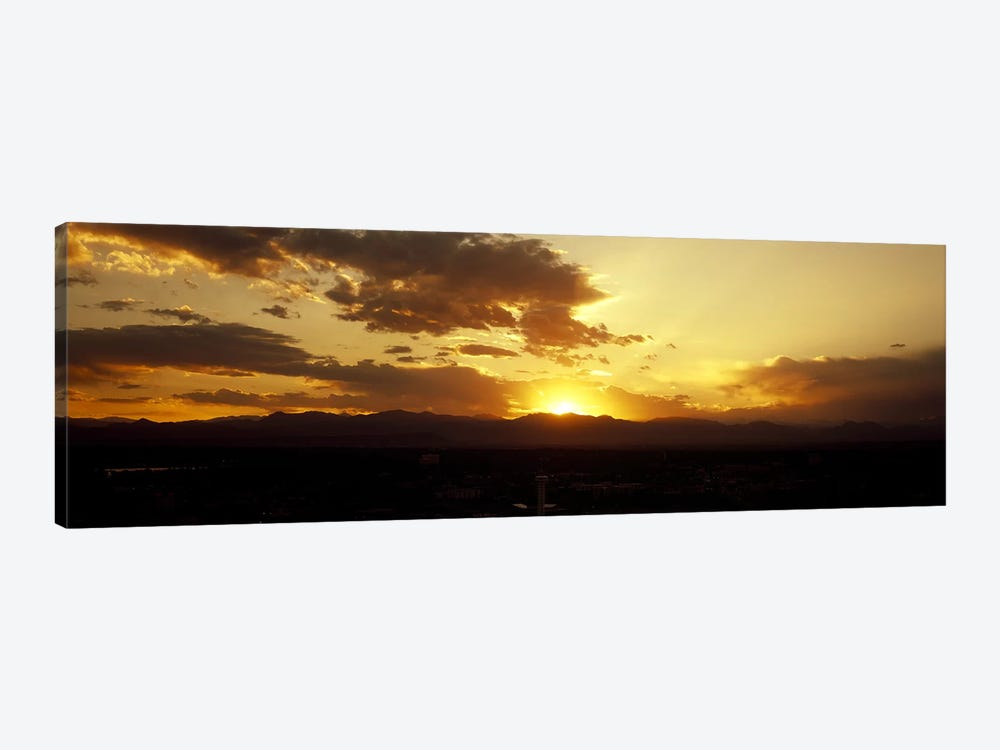 Silhouette of mountains at sunriseDenver, Colorado, USA by Panoramic Images 1-piece Canvas Wall Art