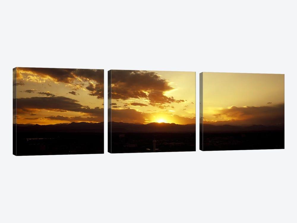 Silhouette of mountains at sunriseDenver, Colorado, USA by Panoramic Images 3-piece Canvas Artwork