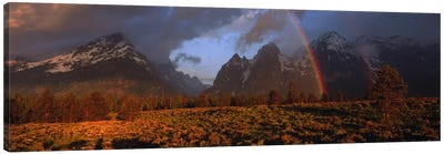 Sunrise & rainbow Grand Teton National Park WY USA Canvas Art Print
