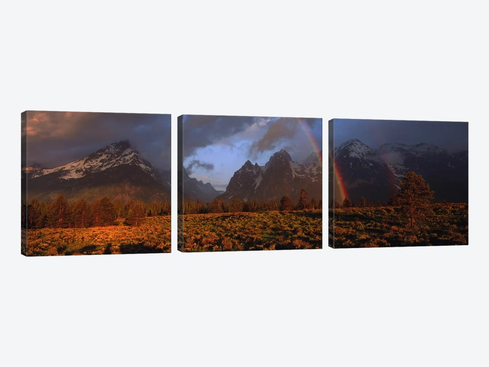 Sunrise & rainbow Grand Teton National Park WY USA by Panoramic Images 3-piece Canvas Print